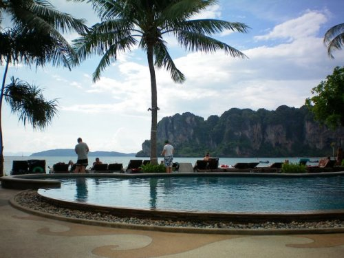 Our hotel pool & Railay West beach
